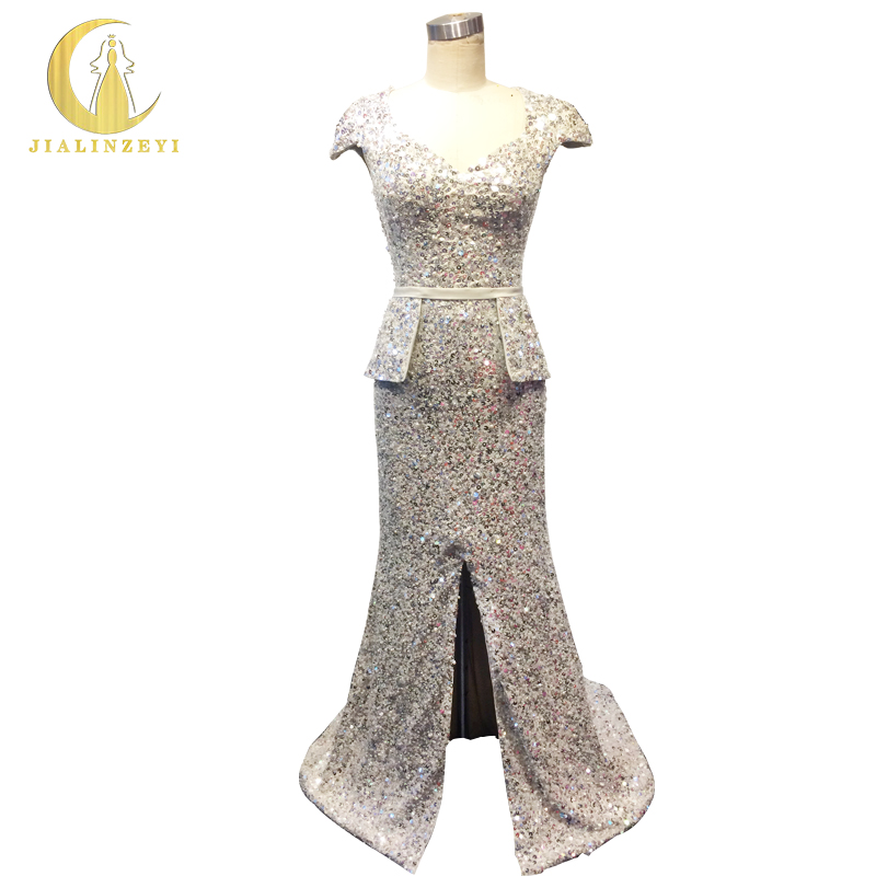Rhine 100% Real Picture Sliver Gray Cap Sleeves FUll Sequins Beads Slit Mermaid Sexy Luxury Formal Dress Evening Dress