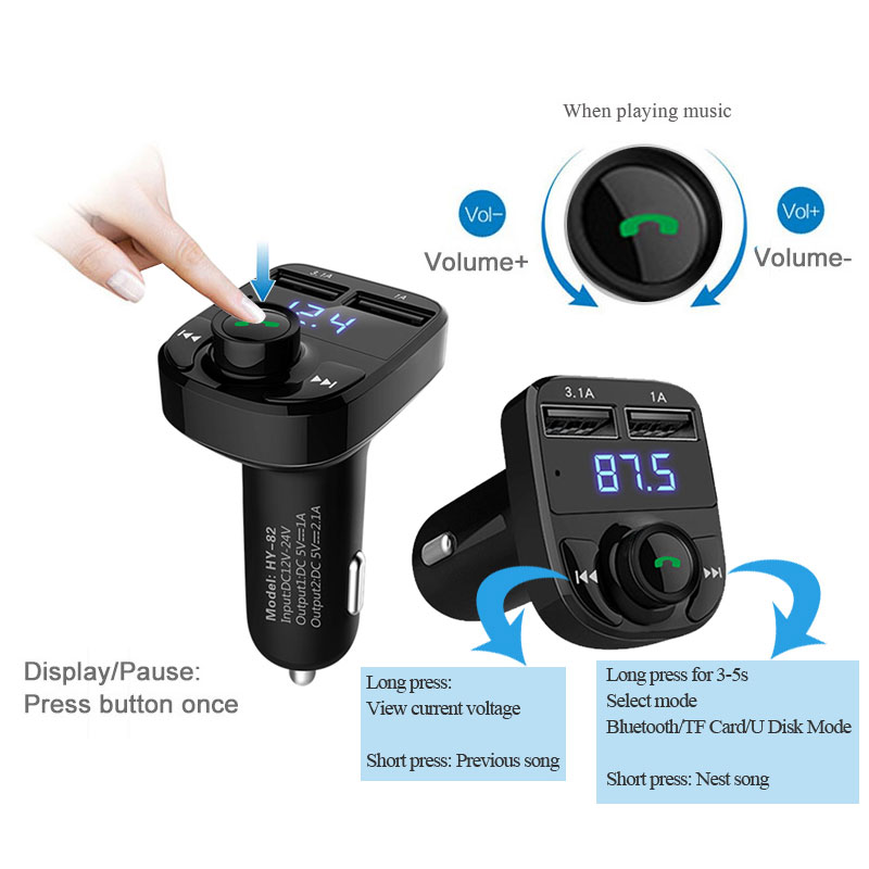 FM Transmitter Car Bluetooth Kit Hands free Car MP3 Audio Player Wireless FM Modulator Handsfree MP3 Music for iPhone & Andriod 3 5mm usb fm transmitter car music player for iphone ipad mp3 black