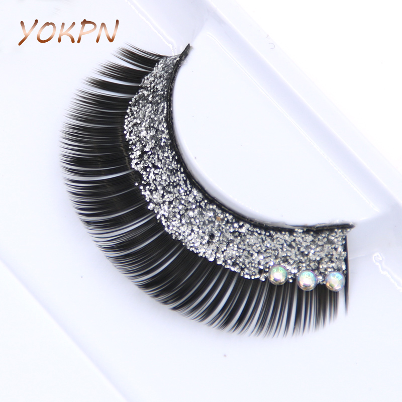 YOKPN Fashion Stage Crystal False Eyelashes Glitter Bright Creative Bridal Makeup False Eyelashes Sequin Thick False Eyelashes