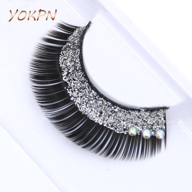 a25f539ba20 YOKPN Fashion Stage Crystal False Eyelashes Glitter Bright Creative Bridal Makeup  False Eyelashes Sequin Thick False