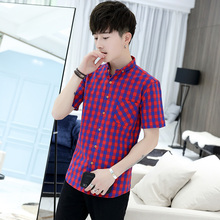 shirt Men's short sleeves New summer Stylish checked Youth thin casual trendy