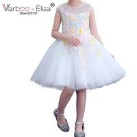 VARBOO_ELSA Little Girl Gown 2018 Flower Girl Dresses White Tulle Prom Dress Lace 3D Flower Pink Children Gowns vestido daminha