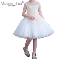 VARBOO_ELSA Little Girl Gown 2018 Flower Girl Dresses White Tulle Prom Dress Lace 3D Flower Pink Children Gowns vestido daminha