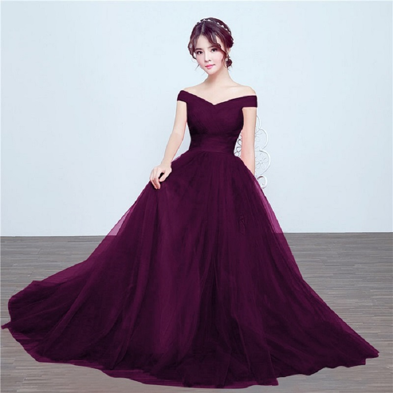 Beauty Emily Bridesmaid dresses Elegant long wedding party dress Plus size royal blue bridesmaid dress Tulle Robe Soiree