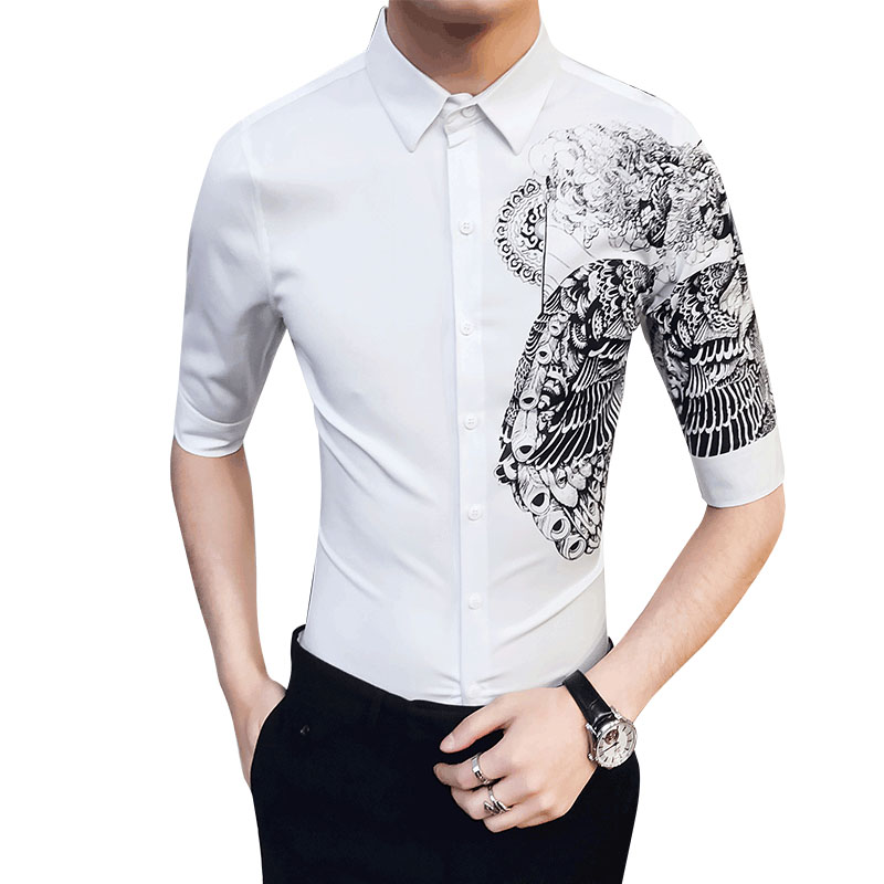 2019 Summer New Men 39 s Brand Shirt Men 39 s Personality Print British Style Fashion Casual Slim Shirt High Quality Men 39 s Dress Shirt in Casual Shirts from Men 39 s Clothing