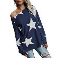 Winter Autumn T Shirt Print Stars Loose Casual Loose Shirts Tee Tops Blusa Femme 2017 2