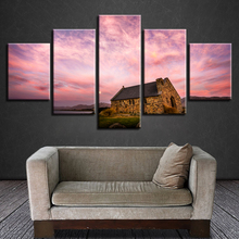 Abstract Photo Wall Modular Pictures For Living Room Decorative 5 Panel Pink Sky Cottage Frame HD Poster Canvas Painting