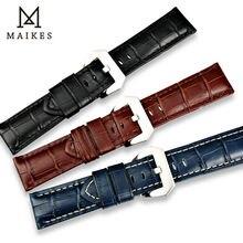 MAIKES 22mm 24mm 26mm nowy stylowy zegarek zespół czarny brązowy niebieski cielę prawdziwej skóry zegarek pasek zegarka akcesoria watchband