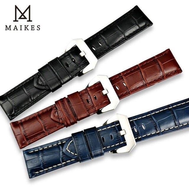 Ремешок для часов MAIKES из натуральной кожи, дизайнерский браслет для наручных часов, черный коричневый синий браслет из телячьей кожи, аксессуары для часов, 22 мм 24 мм 26 мм