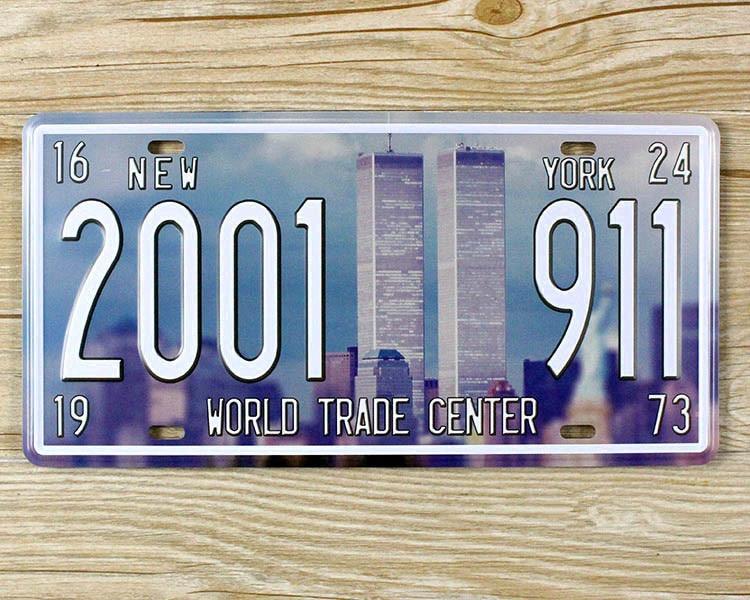 Licence plaque World trade center 911 Garage affiche de Bidon en métal signes Art décoration murale Bar Café maison 15*30 CM JH-00806 Livraison le bateau