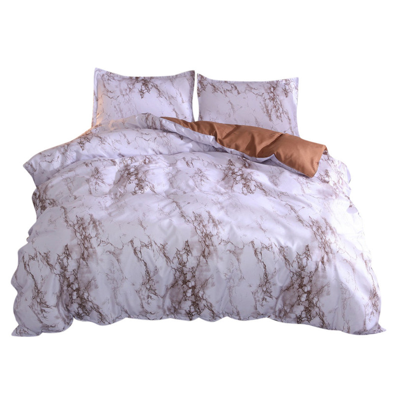 Image 2 - Simple Marble Bedding Duvet Cover Set Quilt Cover Twin King Size With Pillow Case comforter durable 3D Design luxury bed cover-in Bedding Sets from Home & Garden