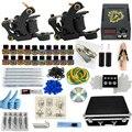 Профессиональный 1 Компл. Большой Полное Оборудование Татуировки набор Пистолет 20 Цветных Чернил Питания Шнур Комплект Тела Красоты DIY инструмент