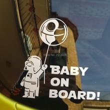 Car Styling Star Wars Cartoon Astronaut Baby on Board Creative Auto Decal Car Bumper Body Decal Sticker Pattern Vinyl