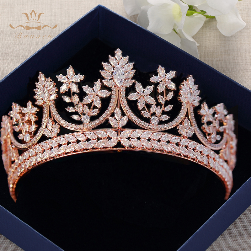 High end Royal Queen Rose Gold Tiaras Crowns for Brides Crystal Brides Hairbands Full Zircon Wedding