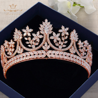 High end Royal Queen Rose Gold Tiaras Crowns for Brides Crystal Brides Hairbands Full Zircon Wedding Hair Accessories