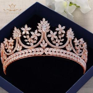 High-end Royal queen Oro Rosa Diademi Corone per Le Spose Spose di Cristallo Hairbands Completa Zircone Da Sposa Accessori Per Capelli