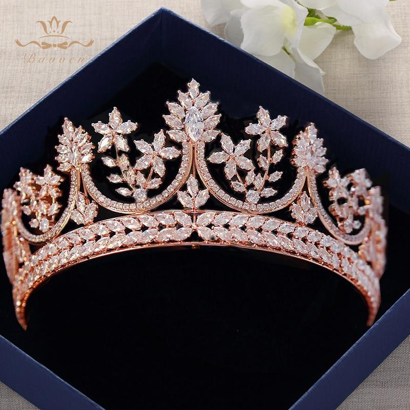 Wysokiej klasy królewski królowa różowe złoto tiary korony dla narzeczonych kryształowe Brides Hairbands pełna cyrkon ślubne akcesoria do włosów w Biżuteria do włosów od Biżuteria i akcesoria na  Grupa 1