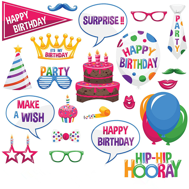 2017 Happy Birthday Papercard Photo booth props Kit on A