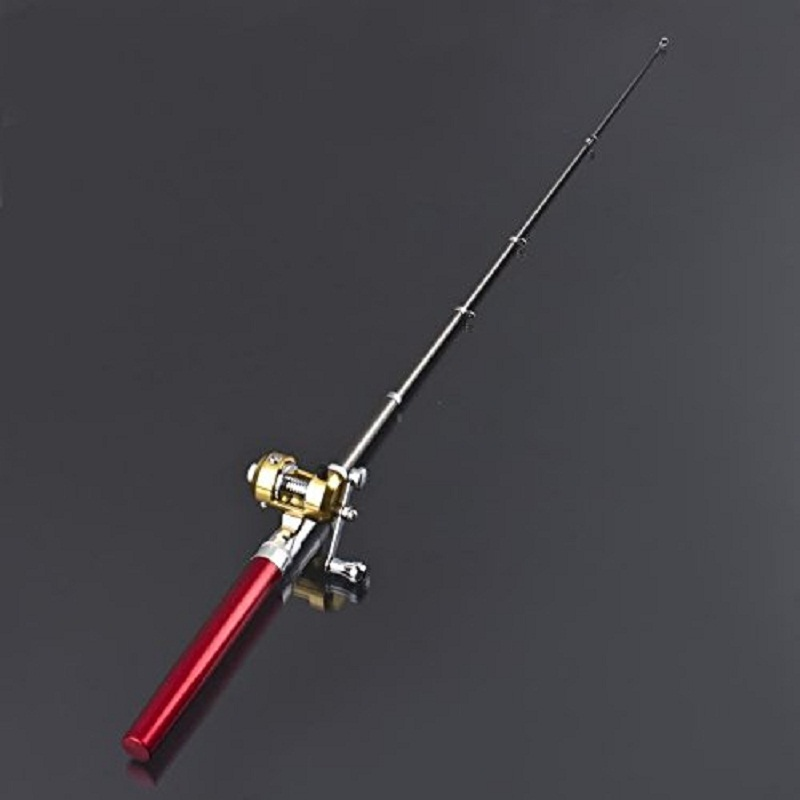 Red Portable Aluminum Alloy Pen Fishing Rod
