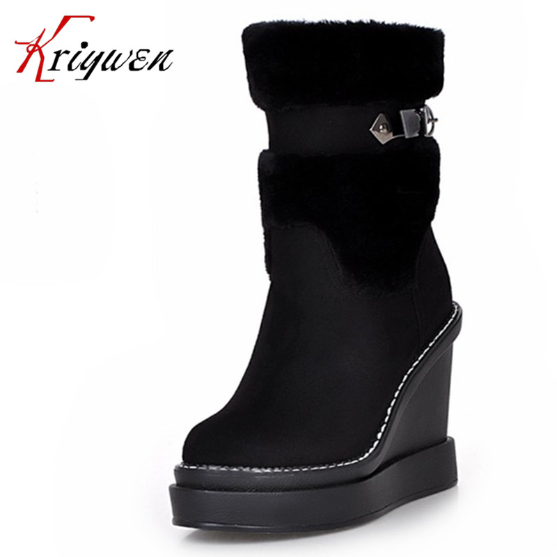 Big size 34-41 Women's mid calf Boots round toe platforms wedge snow shoes Motorcycle boots Ultra high heels keep warming shoes double buckle cross straps mid calf boots