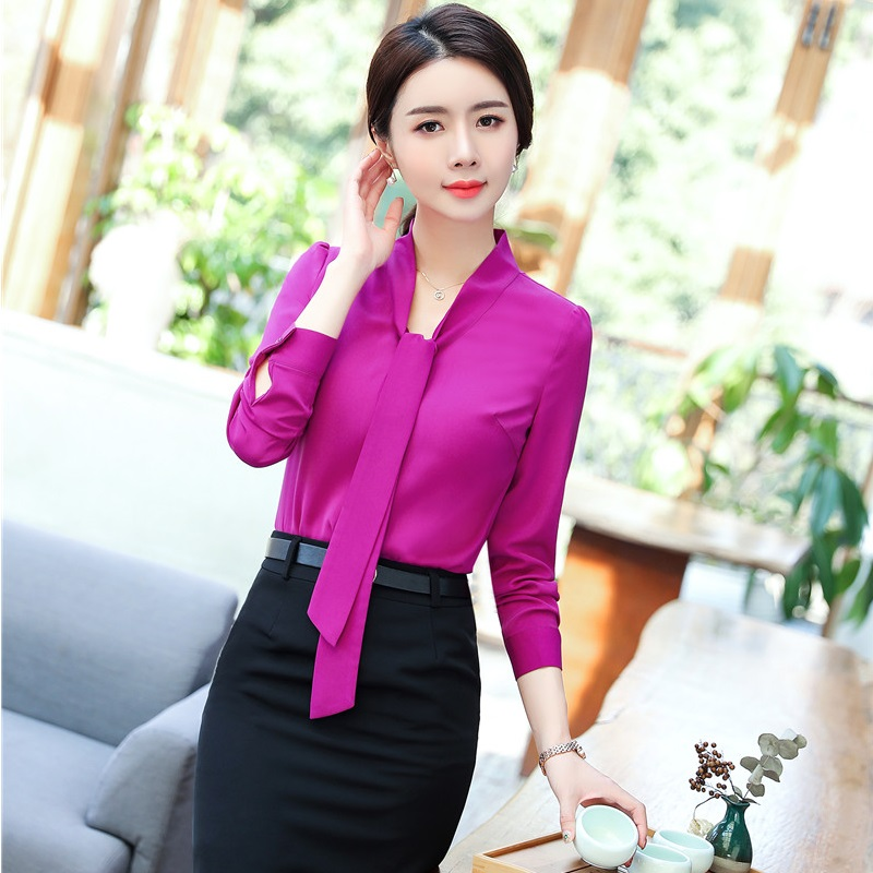 Spring Fall Elegant Work Suits With 2 Piece Tops And Skirt For Women Business Uniform Styles Blouses & Shirts Sets Plus Size