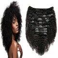Natural Negro Brasileño Rizado Rizado Clip En Extensiones de Cabello 9 unids Natural Clip Ins 100 Afroamericano Afro Rizado Clip Ins