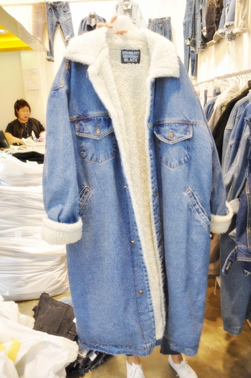 Doublées Femmes Denim D'agneau Manteau Surdimensionné Vestes Couleurs Blue 3 Hiver En Laine Jeans Longue qtxt6w1r