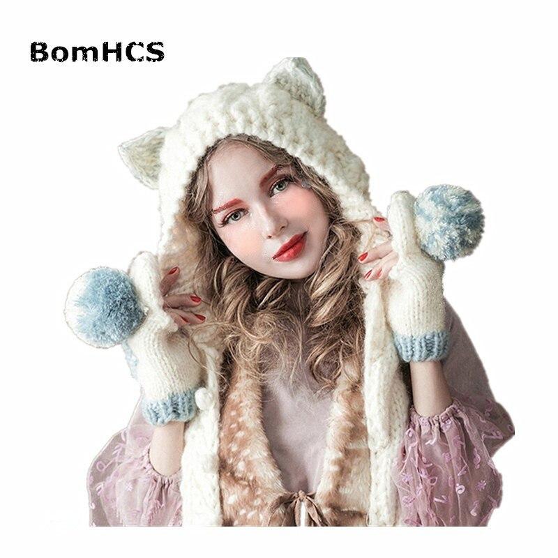BomHCS Bonito Ouvidos Gorro Branco com Lenço das Mulheres Bonitas 100% Handmade  Malha Chapéu Lenço de Presente em Skullies   Gorros de Acessórios de ... a8ac134595a
