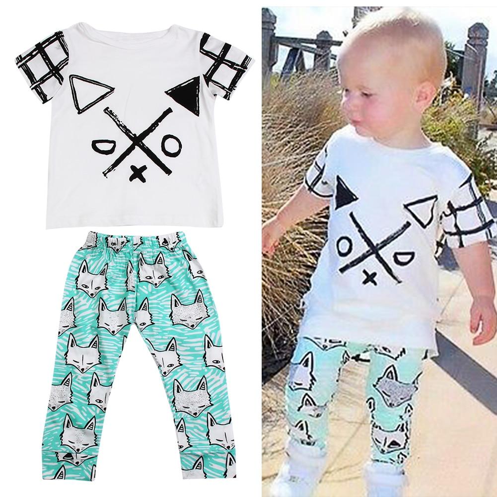 2017 New Born Baby Kids Boys Clothes 2 pcs Set Short Sleeve T-shirt + Long Pants Fox Outfits Spring&Summer