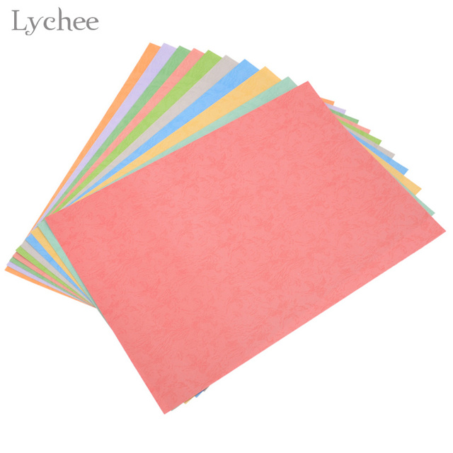 Lychee 10 Sheets Color Embossed Paper Diy Handmade Origami Card