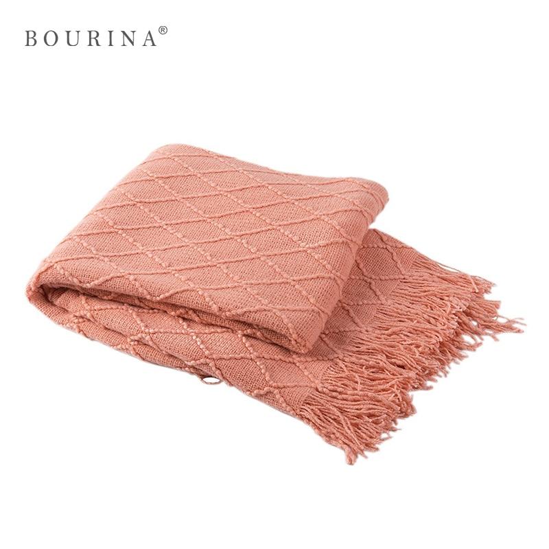 Bourina Plaid Blanket Bedding/Sofa/Car/Plane Cozy Soft Warm Cover Fringe Tasteless Travel Gift/Decors Knitted Throw Manta Y001