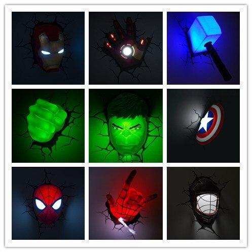 Perfect Creative Ironman Spiderman Captain America 3D Wall Lamp Amazing Baby Room  Decoration Night Light Lampada De