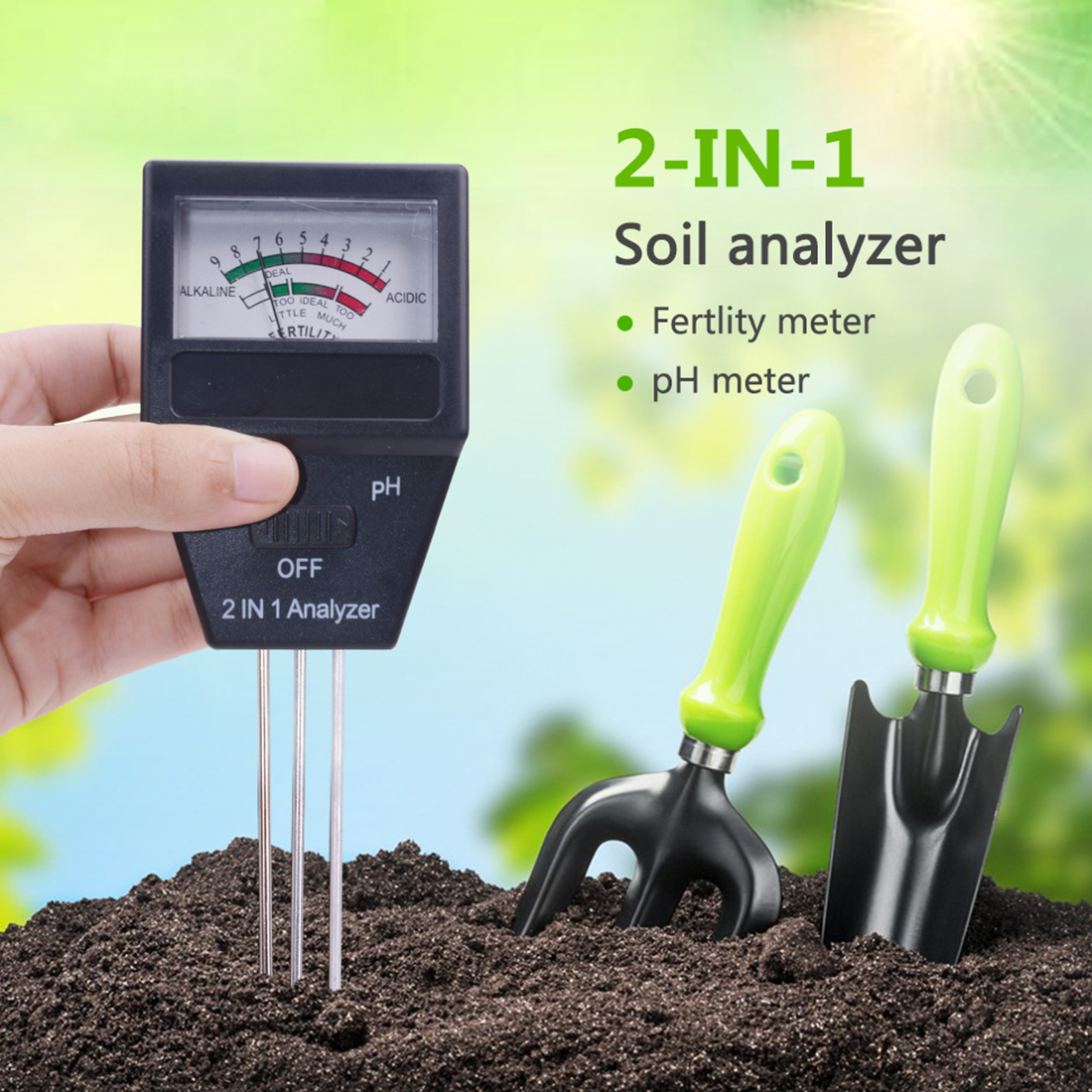 2 in 1 Soil PH Meter& Fertility Tester With 3 Probes Ideal Instrument For Gardening Gardening Tools 2 in 1 Soil PH Meter& Fertility Tester With 3 Probes Ideal Instrument For Gardening Gardening Tools