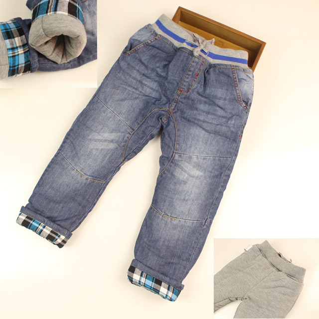 Baby Boys Winter Thick Denim Jeans Kids Warm Long Pants Boys Winter Jeans Children Winter Warm Trousers Casual Long Pants
