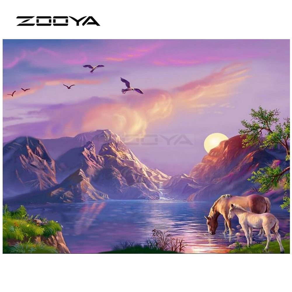 ZOOYA Diamond Embroidery DIY Diamond Painting Sunset Mountain Lake 2 Horses Diamond Pain ...