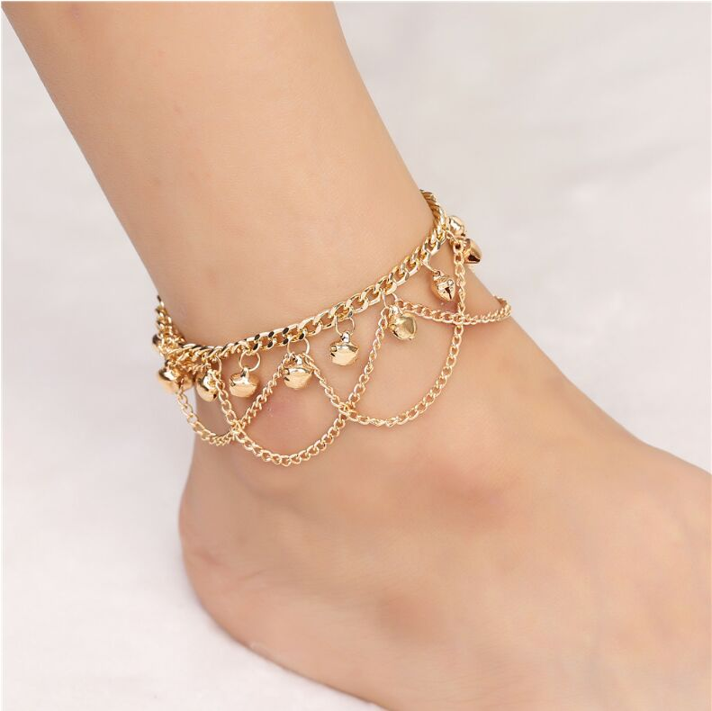 New trendy foot jewelry Bohemia style round bead anklets Bell gift for women girl metal bangle body chain Female Jewelry