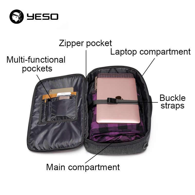 YESO Многофункциональный рюкзак для ноутбука для мужчин 2018 большой емкости Оксфорд бизнес повседневные Рюкзаки анти кражи 15 дюймов ноутбук рюкзак