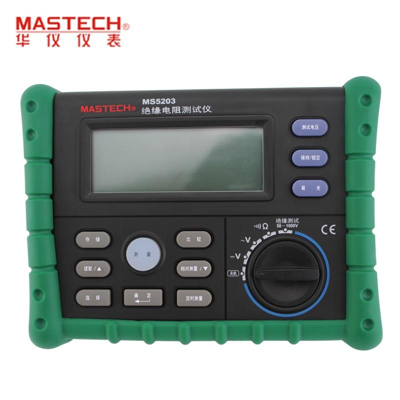 MASTECH MS5203 Digital Insulation Resistance Tester Meter Multimeter 10G 1000V English panel  stc диана 5203