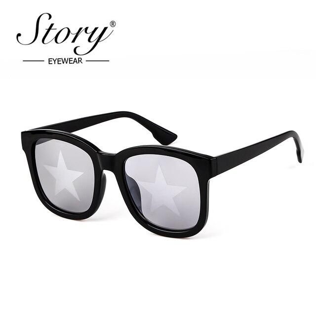 4edf3a79208 STORY 2018 Fashion Star Sunglasses Women Men Brand Designer Retro Square  Star Lens Oversized Sun Glasses Eyewear Female Shades