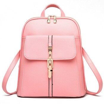 High Quality Casual PU Pratical Women Backpacks Schoolbag Traveling  Bag Zipper