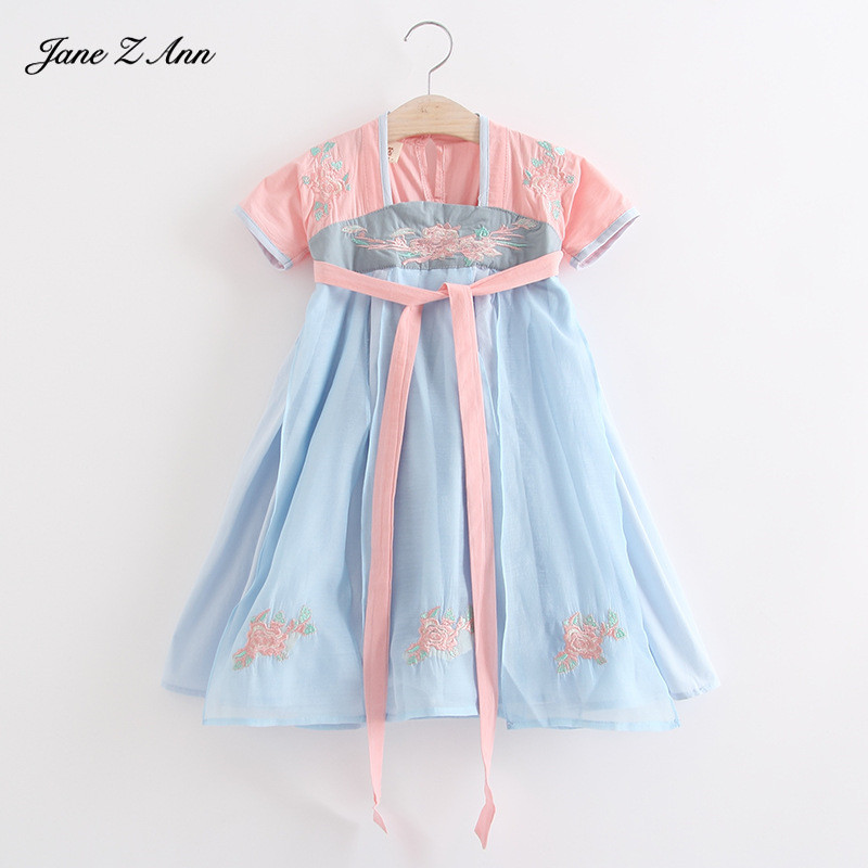 Jane Z Ann Ancient Chinese costume 2018 summer new baby girl flower embroidery Hanfu infant toddler dress halloween costume