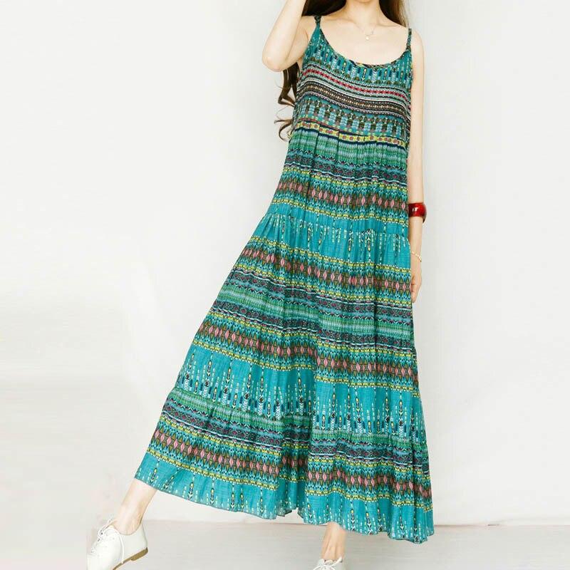 Plus Size ZANZEA 2018 Summer Women Long Maxi Dress Spaghetti Strap Sexy Boho Floral Printed Pleated Vestido Beach Party Sundress