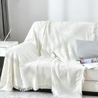 Modern Solid White Tassel Throw Blanket Jacquard Knitted Soft Sofa Blankets Cotton Blanket On Travel/Plane Home Textile Cobertor