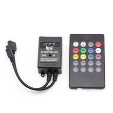 New 20 Key 12-24V 72W 38KHz Music IRController Black Sound Sensor Remote For RGB LED Strip High Quality cheap RGB Controler plastic ROHS ECLH RF controller led strip 3528 5050 RGB 1 year 20 keys 20key controller
