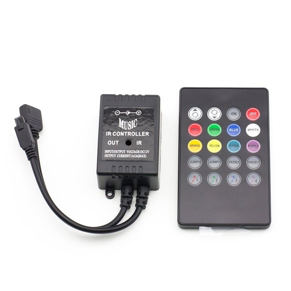 New 20 Key 12-24V 72W 38KHz Music IRController Black Sound Sensor Remote For RGB LED Strip High Quality