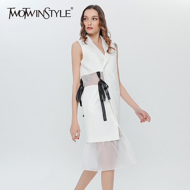 TWOTWINSTYLE Patchwork Mesh Ruffle Summer Dress Vest Female Sashes Sexy Party Dresses Women Sleeveless Waistcoat Casual 2018 New