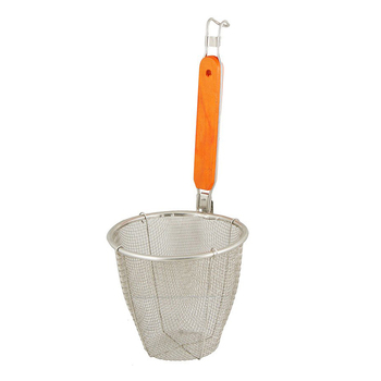 "Practical Wooden Handle Stainless Steel Kitchen Ware Dumplings Noodles Mesh Strainer 5.3"" x 4.9"""