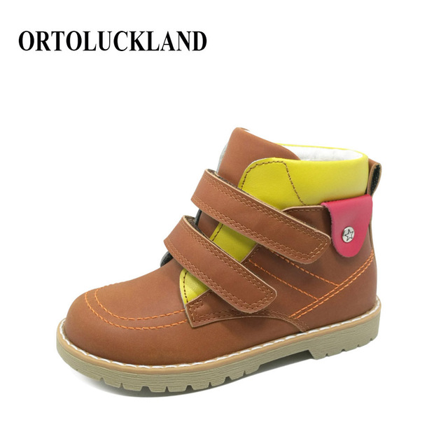 Fashionable Children Orthopedic Footwear Handmade Boys Cow Nubuck Leather Brown Ankle Boots Spring Autumn Shoes