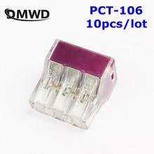Бесплатная Доставка 10 шт. pct-106 нажмите провода разъема проводки распределительная коробка 6 pin проводник; распределительная коробка разъем провода