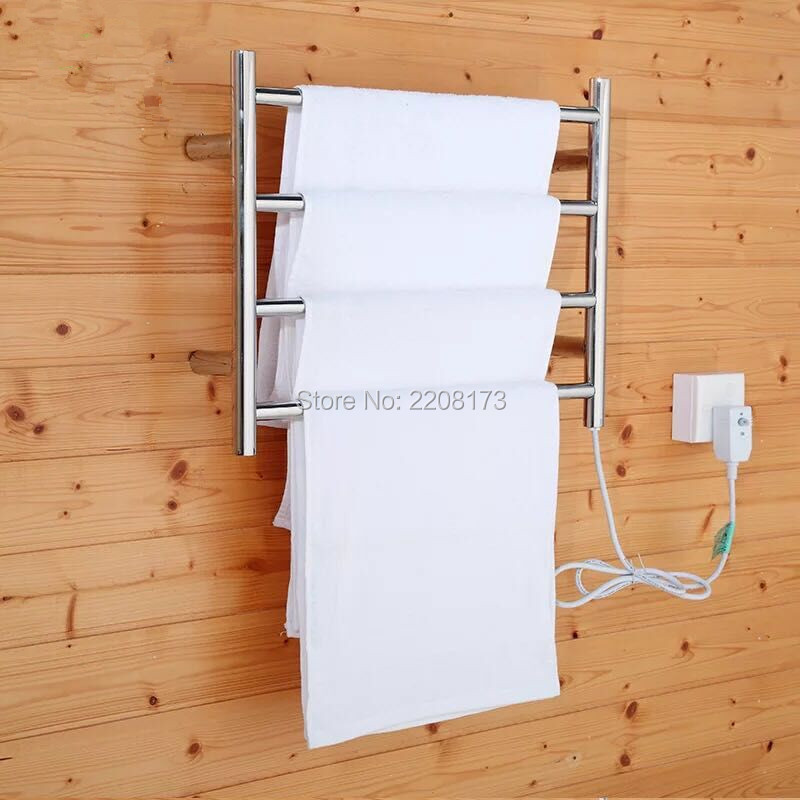 New Concept Of Bathroom Accessories Electric Heated Towel Warmer Drying Rack 4 Bar Hanger Wall Mount Stand Holder